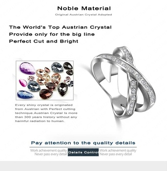 European Style Unisex Ring Silver Color Austrian Crystal Rings Jewelry Ri-HQ1073-B